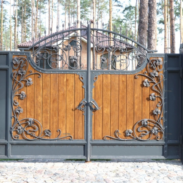 Ворота з деревом